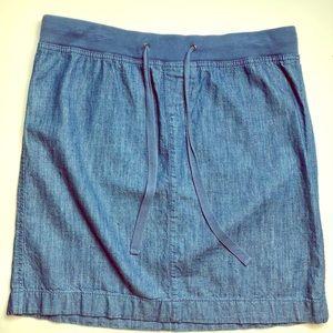 Ann Taylor Loft Drawstring Denim Mini Skirt Sz 0